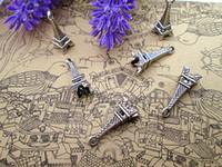 75pcs - Эйфелева башня очаровывает Античный серебряный тон Эйфелева башня Шарм Подвеска 23x8mm