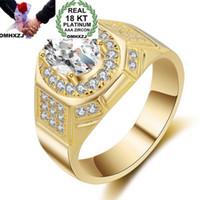 OMHXZJ Comercio al por mayor de Moda Europea Hombre Mujer Regalo de Boda de Lujo Circón Blanco 18KT Anillo de Oro Amarillo RR717