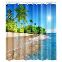 Le décor imperméable de panneau de rideau en douche de salle de bains de tissu avec l'ensemble de crochets, vagues de ciel bleu