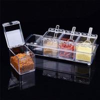 4 개 / 대 명확한 조미료 랙 향신료 냄비 저장 용기 조미료 항아리 Cruet 커버 숟가락 주방 용품 용품