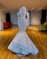 豪華な人魚の見事な2019年のアフリカのドバイの結婚式の上のハイネックビーズクリスタルブライダルドレス長袖のウェディングガウン