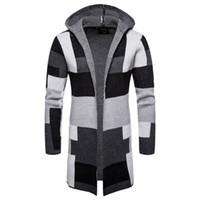 Abrigos de suéter de bloque de color largo delantero abierto casual para hombre Abrigos de patchwork cálidos de invierno Chaqueta de punto con capucha Ropa de moda masculina