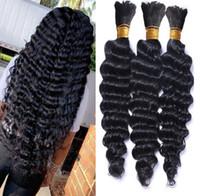 Необработанная бразильские человеческие волосы Bulk 9 класс Bulk глубокой волна человеческого плетения волос человеческих волос оплетка Bulk Нет вложения