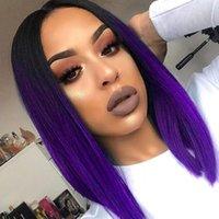 Venda quente Natural Ombre roxo Preto / Loiro / cinza / Linho Brown / linha reta peruca sintética Shoulder Length Oriente Parte peruca cosplay Womens preto para