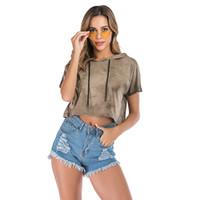 Женская футболка 2019 лето новые девушки футболка женский с короткими рукавами градиент цвет сексуальный свитер с капюшоном бесплатная доставка
