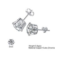 3mm-8mm Crystal Wedding Stud Earrings For Women Bohemian Round Crown CZ Zircon Ladies Girls Simulated Diamond Jewelry Gift