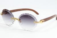 2020 Verkauf zweireihiger Big Stone randloses Glas-3524012A Metall Mix Holz Maxi-Runde Brillen Einzigartige übergroße Formen Sonnenbrille