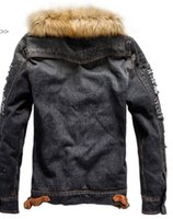 Mode-Herren-Washed Winter-Jean-Jacken Herbst Dickes Fell Designer Mäntel Langärmlig Einreiher Jacke
