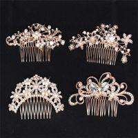 Fiore di cristallo farfalla pettina i capelli in oro rosa perla pettine dei capelli per monili delle donne festa di nozze strass Ragazze Accessori per capelli