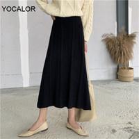 Jupes Yocalor Spring High Taille Slim A-Line Femmes Tricoté Jacquard Weave Femme Pull Vestidos Femme jupe