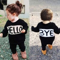 Children Black Sweater Letter Pattern Autumn Winter Girls Clothing Fashion Sweater &Knitwear Outwear HELLO Pattern