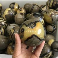 الحاجز الطبيعي Sphere Dragon Stone Septarium Fossil Crystal Ball شفاء 1PC