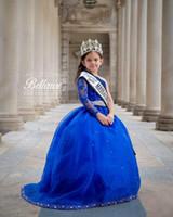 One Bee Beads Маленькие девочки Пагенты Платья Royal Blue Длинные Рукава Бальное платье Детские Официальные Носите Кружева Свадебные Цветочные Девушки Платье