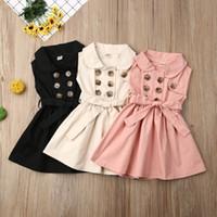 niñas conceden el vestido 2020 del resorte de algodón para bebés niños pequeños cabritos de la muchacha de solapa doble de pecho-casual sin mangas vestido plisado vestidos A1864