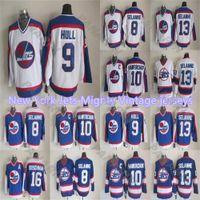 Mes limite pas cher à New York Jets Puissant Vintage 9HULL 13SELANNE de S-3XL blanc et chemises de hockey bleu