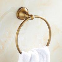 골동품 청동 라운드 타월 링 유럽 스타일 벽 마운트 욕실 수건 홀더 클래식 욕실 하드웨어 액세서리