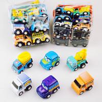 6pcs 당겨 자동차 장난감 모바일 기계 숍 건설 차량 화재 트럭 택시 모델 아기 미니 자동차 선물 어린이 장난감