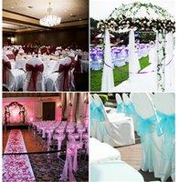 Tule Chair Back Flower Hotel Wedding Cover Bowknot Stoel Eetkamer Bruiloften Banket Party Hotel Decoraties (25PCS / Pack)