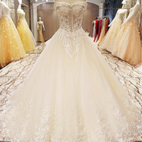 Floor Length Wedding Gowns Lace Up Back Beading Crystal Ball...