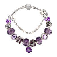 Venta al por mayor de fábrica de color púrpura placa de plata perlas pulseras brazalete de cadena encanto DIY brazalete pulsera regalo de la joyería para hombres mujeres amante regalo