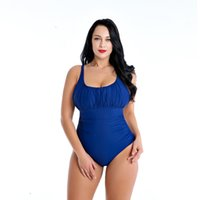 Large- sized pure- color swimsuit with high elasticity, sexy s...