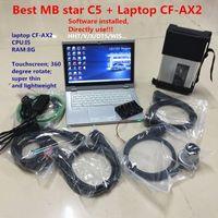 Qualidade MB Star C5 SD Connect C5 com CF-AX2 Laptop I5 8G Mais Novos Soft-Ware 2020.06 Ferramenta Diagnóstica MB Estrela C5 HHT / Vediamo / X / DAS / DTS