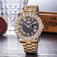 quartzo 44 milímetros Assista Presidente Luxo Mens Marca Men Watch Big Diamonds Day-Date Marca aço inoxidável Perpetual Diamante Relógio de pulso Atacado