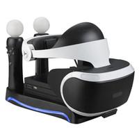 PSVR doca de carregamento Estação Stand Holder Multifuncional armazenamento para 2 ª Geração Playstation 4 PS4 VR Headset Processor Mover Controlador