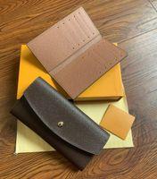프랑스 디자이너 여성 긴 수표 지갑 신용 카드 사진 홀더 지갑 브라운 모노 그램 화이트 체크 무늬 캔버스 가죽 무료 배송