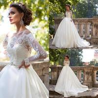 Abiti da sposa vintage Milla Nova con spalle scoperte maniche lunghe appliques abiti da sposa lunghezza abito da sposa