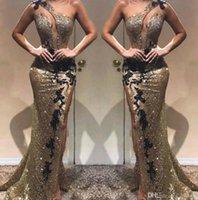 2020セクシーなサイドスプリットイブニングドレスマーメイドワンショルダーリフレクティブシルバーブラックスパンコールロングパーティーセレブガウンドレスProm Dress BC1440