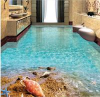 Benutzerdefinierte Boden Wandbild Tapete Strand Seestern Shell Strand Ozean Bad 3D Bodenbelag Wohnzimmer Schlafzimmer Balkon PVC Boden Aufkleber Wohnkultur