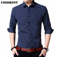 COODRONY Men Shirt Autumn Classic Striped Business Casual Sh...