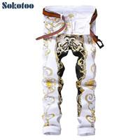 Sokotoo erkek ince baskı kot moda çiçek düz beyaz kot pantolon uzun pantolon