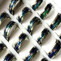gros argent bande 30pcs 8mm changement de couleur humeur émotion Annulaire bijoux 316L anneaux en acier inoxydable hommes femmes anneaux