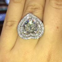 サイズ6-10スパークリングラグジュアリージュエリー925スターリングシルバーハート形ホワイトトパーズCZダイヤモンド宝石永遠の女性結婚式の恋人リングギフト