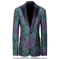 Юшу тонкий стиль подходит одна кнопка мужская зеленый пиджак британский повседневная блейзер деловой банкет свадебное платье куртка костюм Homme для