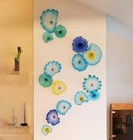 Французские муранские цветочные тарелки настенное искусство синий оттенок художественное украшение 100% ручной выдувной стеклянный подвесные тарелки настенное искусство с гребешком края