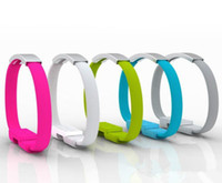 100PCS 다채로운 짧은 플랫 팔찌 손목 밴드 자석 USB 케이블 손목 밴드 2.0 데이터 동기화 충전기 스마트 폰을 위해 케이블을 충전