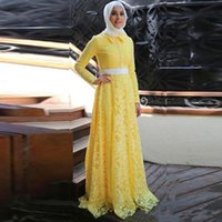 Yellow Muslim high neck prom Dresses 2019 A- line Long Sleeve...