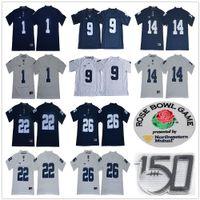 NCAA Penn State Nittany 1 KJ Hamler 14 Sean Clifford 22 John Cappelletti 26 Saquon Barkley 9 Trace Mcsorley 150th Rose Bowl Patch Jerseys