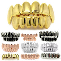 Personalità Hip Hop Zanne Denti Oro Argento Oro rosa Denti Grillz Gold False Denti Set Vampire Grills For womenmen Dental Grills Gioielli