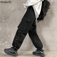 Hip Hop Woherb remiendo de carga pantalones de cintura alta elástico de las mujeres Negro Pantalones deportivos Capris de Corea del punk de Calle Pantalones Mujer
