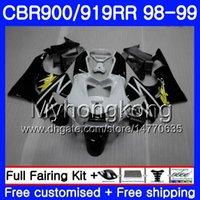 Bodys For HONDA CBR 919RR CBR 900RR CBR919RR 1998 1999 278HM.34 CBR900RR CBR 919 RR CBR900 RR CBR919 RR Black white light 98 99 Fairing kit