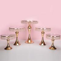 5 pçs / conjunto de ouro titular do bolo de cristal estande bolo Pan Cupcake mesa doce mesa de doces mesa de mesa de mesa decorações de casamento