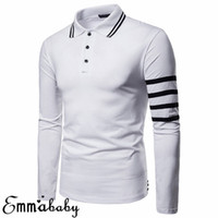 Mens Solid Long Sleeve Striped Shirt Slim Lapel Fit Casual G...