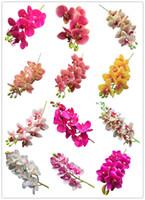 난초 시뮬레이션 진짜 터치 나비 난초 PU Cymbidium 인공 꽃 웨딩 센터 피스 장식 14 색