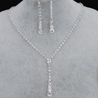 Kristall Brautschmuck Set Silber Überzogene Halskette Diamantohrringe Hochzeit Schmuck Sets für Brautbräuerisch Partei Zubehör