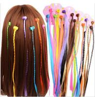 Niñas coloridas pelucas clips ornamento del pelo cola de caballo garra tuerza el pelo trenza sombrero para Niños Chicas Accesorios para el cabello 15lot / 90pcs
