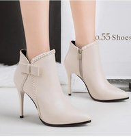 Sexy thin high heels ankle boots with bowtie ivory wedding s...